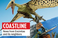 A page from the 2013 Cardiff Kook Calendar shows a papier mache pterodactyl grabbing onto the &quot;Magic Carpet Ride&quot; statue in Cardiff. (Photo courtesy of Fred Caldwell)