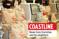 Plastic bags are shown recently at the self-checkout at a Ralphs on Montezuma Road in San Diego. (Photo by Ana Ceballos)