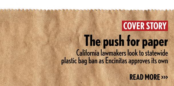 Encinitas' ban on plastic bags, which will be phased in starting this spring, is more stringent than the statewide ban expected to soon be signed by Gov. Jerry Brown.