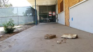 The Pacific View site's crumbling infrastructure, pictured in late August, is one of the issues the city of Encinitas and The Encinitas Arts, Culture and Ecology Alliance will have to tackle as the complex is converted to an arts center. (Photo by Susan Whaley)