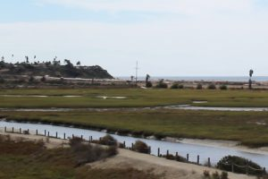 San Elijo Lagoon, pictured looking southwest in early October, includes a railway that is part of an overall transportation improvement project. (Photo by Meghan Lanigan)