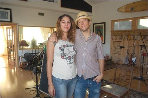 Musician Jason Mraz (right) and author Tawny Maya McCray at Mraz's Oceanside home. (Photo courtesy of Tawny Maya McCray)