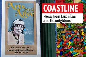 Arts Alive banners featuring a portrait of late Encinitas City Councilwoman Maggie Houlihan are now on full display along North Coast Highway 101. (Photo by Chris Earley)