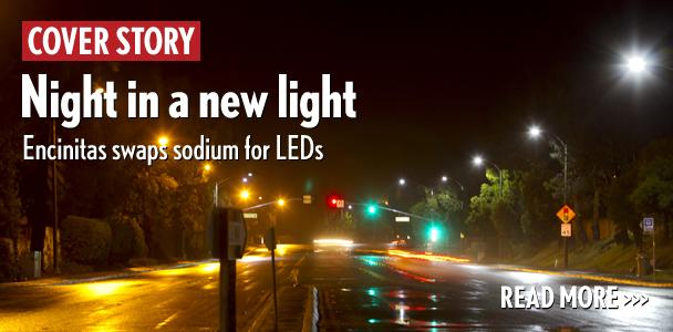 Old+streetlights+are+slowly+being+replaced+by+new+energy-efficient+LED+fixtures+as+the+city+of+Encinitas+plans+to+replace+the+approximately+3%2C000+streetlights+throughout+the+community.+On+Encinitas+Boulevard+looking+east+toward+Cerro+Street+late+April+1%2C+the+old+lights+give+off+an+amber+glow+on+the+left.+On+the+right%2C+the+new+lights+produce+a+bright+blue-white.+%28Photo+by+Scott+Allison%29