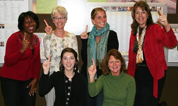 MiraCosta College Foundation staff members. Standing (left to right): Cynthia Rice, Laurie Davidson, Kelsey Krumdieck and Linda Fogerson. Seated (left to right): Tori Fishinger and Betsy Lelja.
