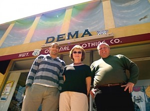 Downtown Encinitas MainStreet Association then-Executive Director Peder Norby (right) stands with manager Dody Crawford (center) and intern Mathew Gelbman in this 2007 file photo. (Photo by David J. Olender)