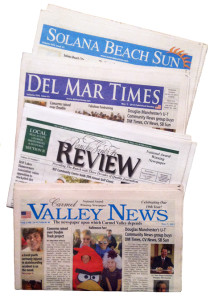 The former Mainstreet Communications newspapers now owned by U-T Community News include the Solana Beach Sun, Del Mar Times, Rancho Santa Fe Review and Carmel Valley News. (North Coast Current photo)
