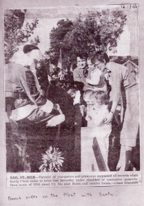 Jan Grice kept this Dec. 13, 1956, Coast Dispatch clipping of her son, Bruce Grice, meeting Santa at the Encinitas holiday parade. (Photo courtesy of Jan Grice)