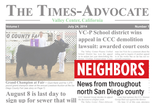 The Times-Advocate is a new newspaper in Valley Center that debuted at the end of July. It's a familiar title in North County, as it was the name for the daily Times Advocate in Escondido, which became part of the now-closed North County Times. (North Coast Current photo)