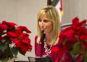 Encinitas Mayor Kristin Gaspar runs Dec. 9's meeting of the City Council. (Photo by Scott Allison)