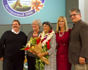 Encinitas City Council members Mark Muir (left), Lisa Shaffer, outgoing Councilwoman Teresa Barth, Mayor Kristin Gaspar and Councilman and outgoing Deputy Mayor Tony Kranz (right) wrap up their term together on the dais Dec. 9. (Photo by Scott Allison)