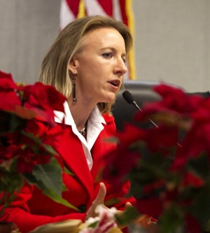 Encinitas Deputy Mayor Catherine Blakespear speaks to a full audience during her first City Council meeting Dec. 9. Blakespear was elected as a council member in the November election and was unanimously appointed deputy mayor by the council. (Photo by Scott Allison)