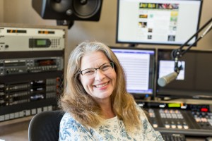 """It's nice to be partnering with the Carlsbad Cultural Arts Office on such a wonderful program and in such a great venue,"" says Jazz 88.3's Claudia Russell, pictured in the station's new studios at San Diego City College. (Photo by Jen Acosta)"