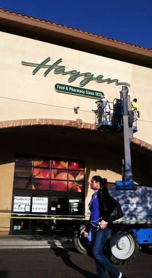 The pharmacy and bank inside a former Albertsons store in Carlsbad remained open March 9 as the store changed over to Haggen. (North Coast Current)