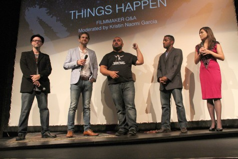 "Cast and crew members of ""Things Happen"" answer questions following the film's premiere June 14 at the Horton Grand Theatre in downtown San Diego. Left to right: Cinematographer Bryan Davis, actor and writer Sebastien Cipolla, director and writer David S. Dawson and actor Merrick McCartha. Kristin Naomi Garcia (far right) moderated the session. (Photo by Carla Van Wagoner of intelleXual entertainment)"