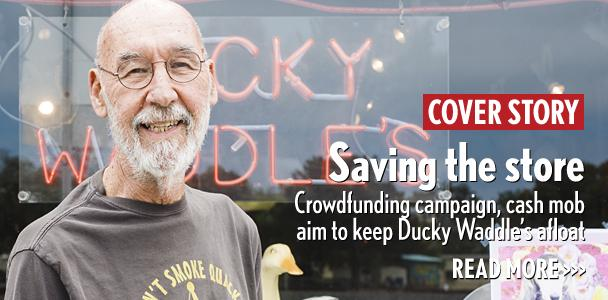Ducky Waddle's owner Jerry Waddle stands outside his Leucadia store on May 29. (Photo by Jen Acosta)