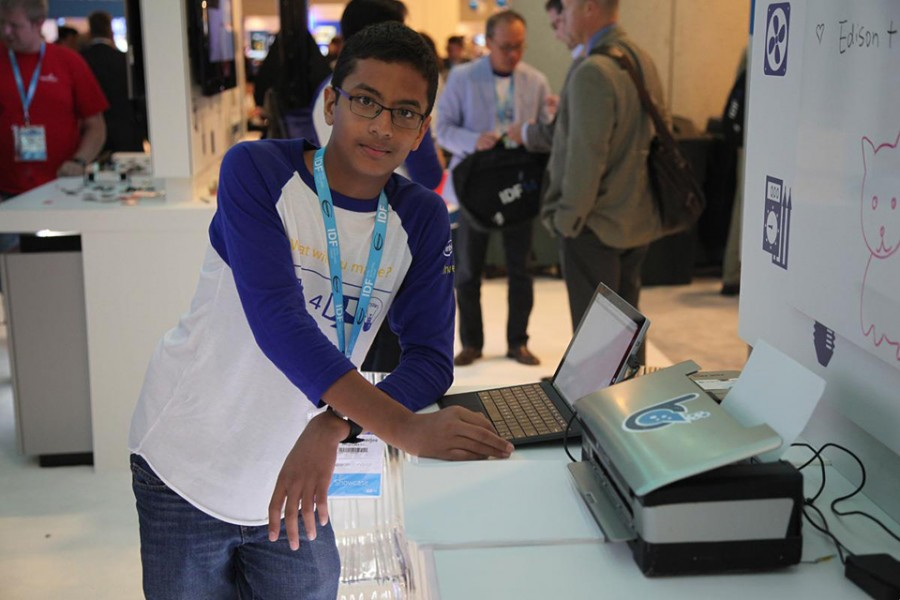 Shubham Banerjee shows off his Braille printer. The 13-year-old started his own company with financial and technological backing from Intel. (Brandpoint photo)