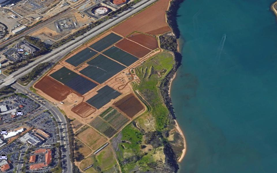 A development and open-space plan on the south side of Agua Hedionda Lagoon in Carlsbad is the subject of intense debate in the community. (Google Earth image)