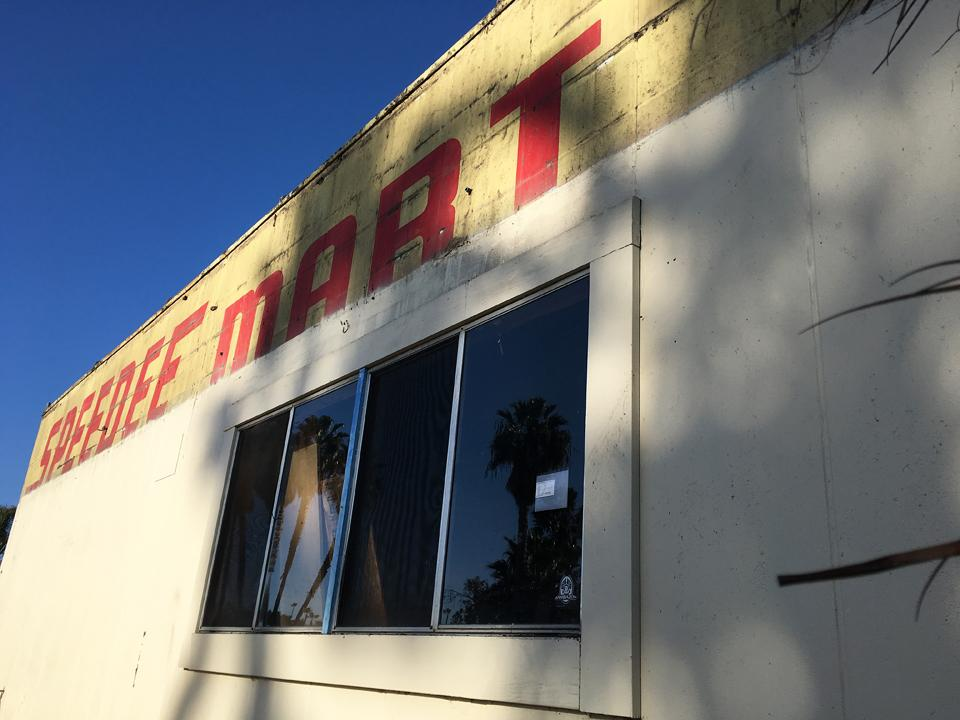 Construction at the west end of Cardiff-by-the-Sea Shopping Center, pictured Jan. 24, has revealed an old Speedee Mart sign not seen since the 1960s. (North Coast Current photo)
