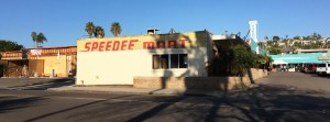 The revealing of an old Speedee Mart sign at Cardiff-by-the-Sea Shopping Center, pictured Jan. 24, stirred buzz on social media over the past month. (North Coast Current photo)