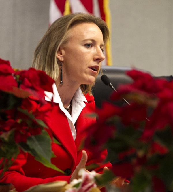 Encinitas Deputy Mayor Catherine Blakespear speaks to a full audience during her first City Council meeting Dec. 9, 2014. Blakespear has announced that she is running for mayor in 2016. (NCC file photo by Scott Allison)