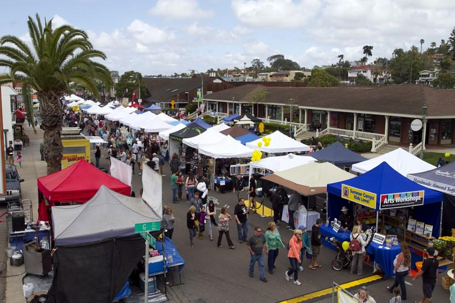 Visitors+peruse+vendors+at+the+Encinitas+Spring+Street+Fair%2C+viewed+from+atop+the+Rock2You+rock+climbing+wall+at+the+corner+of+G+Street+and+South+Coast+Highway+101+on+April+26%2C+2014.+%28NCC+file+photo+by+Scott+Allison%29