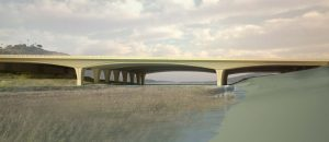 An architectural rendering of a possible design for the Manchester Avenue overpass in Encinitas, looking west, shows a widened span over San Elijo Lagoon. (Caltrans photo)