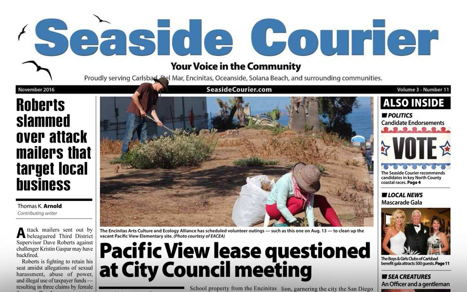 Coastal North County newspaper Seaside Courier is on hiatus as of the start of 2017, the paper's publisher and a contributing writer confirmed Jan. 9. (North Coast Current photo)