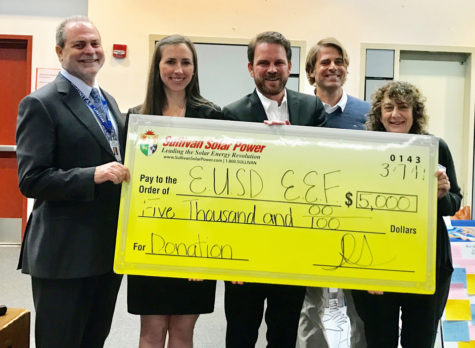 The Encinitas Educational Foundation receives a $5,000 donation March 7 from Sullivan Solar Power. Left to right: Encinitas Union School District Superintendent Tim Baird, Tara Kelly and Daniel Sullivan of Sullivan Solar Power, foundation President Jay Bell and district board Trustee Marla Strich​. (Courtesy photo)