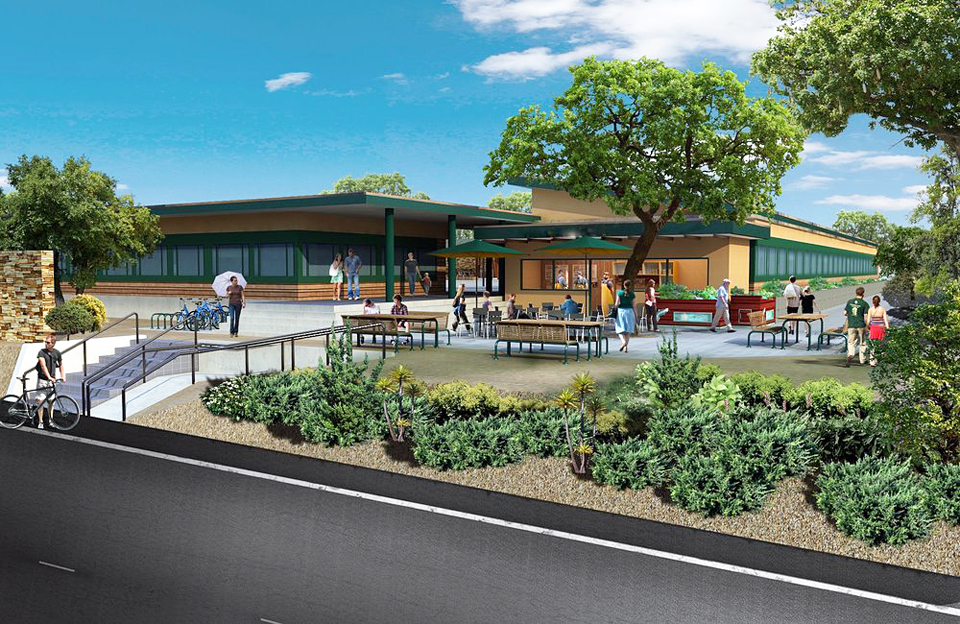 An architectural rendering shows a possible configuration for the former Pacific View School site. (Photo courtesy of EACEA)