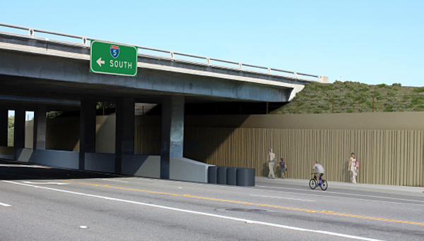 An architectural rendering shows the westbound Encinitas Boulevard underpass at Interstate 5 after completion of improved pedestrian access. (SANDAG photo)