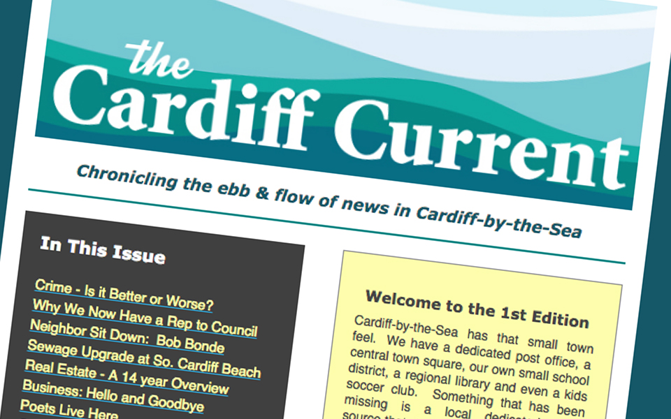 The first edition of the Cardiff Current, not affiliated with the North Coast Current, was emailed to subscribers in January. (Cardiff Current screen capture)