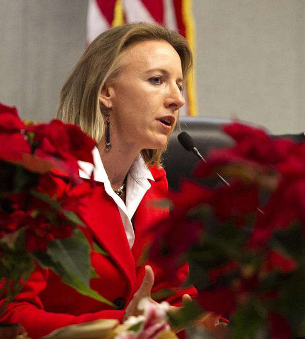 Catherine Blakespear speaks to a full Encinitas City Council audience Dec. 9, 2014. Blakespear has announced that she is running for a second term as mayor in 2018. (NCC file photo by Scott Allison)