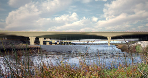 This Caltrans rendering shows a possible configuration for a pedestrian bridge across San Elijo Lagoon under Interstate 5 in Encinitas. (Caltrans photo)