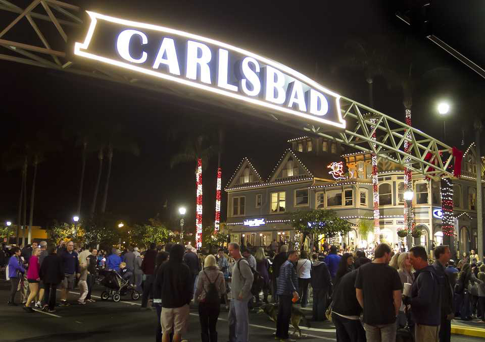 The city sign at Carlsbad Boulevard and Carlsbad Village Drive is shown in this Jan. 8, 2015, file photo. (NCC file photo by Scott Allison)