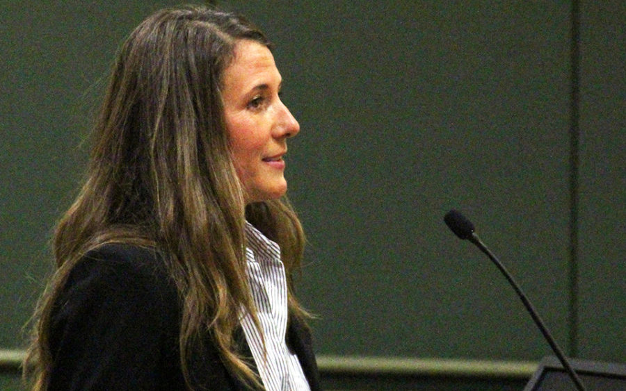 Kellie Shay Hinze makes remarks during the Encinitas City Council meeting Jan. 9 ahead of a council vote appointing her to fill a vacant seat. (Photo by Scott Chatfield)