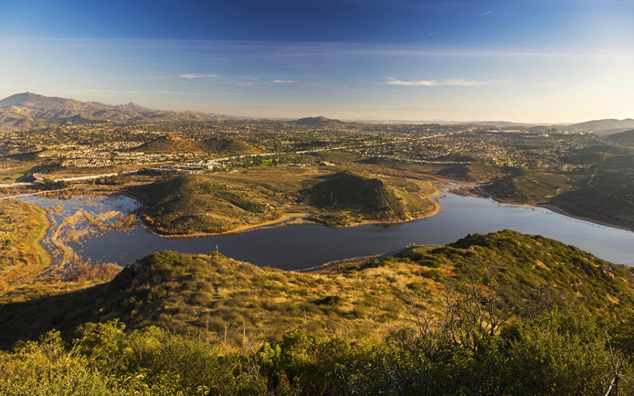 Late afternoon sun casts golden light on the eastern side of Lake Hodges near Escondido in this February 2018 image. (Photo by Autumn Sky Photography; iStock Getty Images)