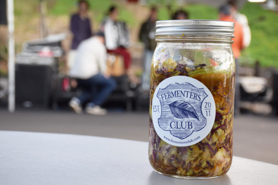 Visitors to the fifth annual San Diego Fermentation Festival in Encinitas on Feb. 17 could sample foods such as pickled cabbage by the Fermenters Club, which held the event at Leichtag Commons. (Photo by Lauren J. Mapp)