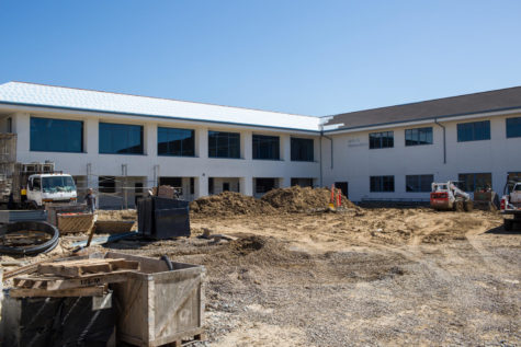 Construction continues on the new arts and humanities building at San Dieguito High School Academy in Encinitas. The 33-classroom building, shown here in late February, will be the second-largest in the district and is slated to open this fall. (Photo by Cam Buker)
