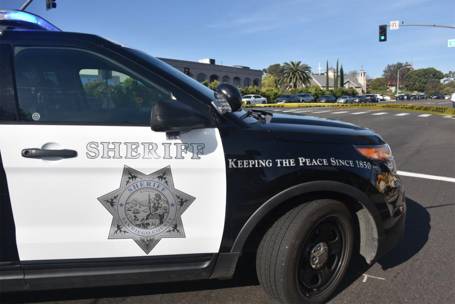 The San Diego County Sheriff's Department stands guard in front of Chabad of Poway on April 27 after a shooting at the house of worship. (Sheriff's Department photo)