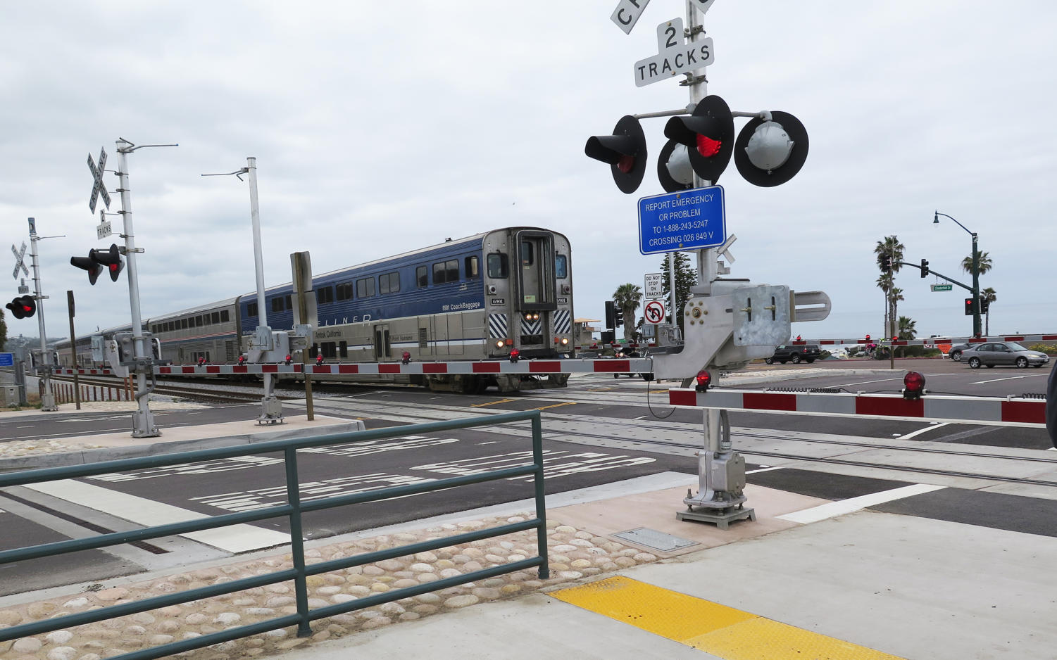 An Amtrak Surfliner passes through the new Quiet Zone crossing at Chesterfield Drive in Cardiff on Wednesday morning, May 1. (Encinitas city photo)