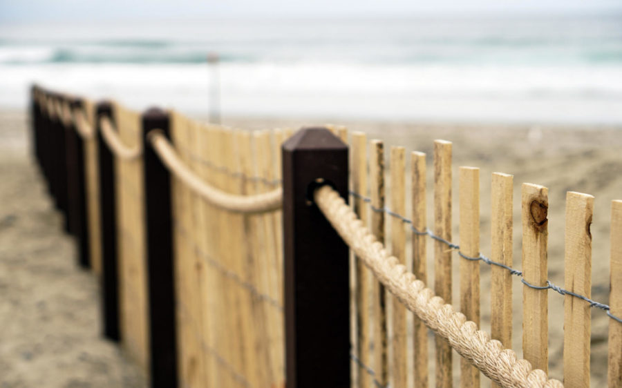 Fencing runs along portions of the new sand dunes at South Cardiff State Beach in Encinitas. The Cardiff State Beach Living Shoreline project opened May 22. (California State Parks photo)