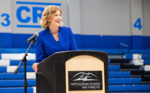 CSU San Marcos incoming President Ellen Neufeldt addresses members of the campus community during an open forum on April 11 at The Sports Center. (CSUSM photo by Andrew Reed)
