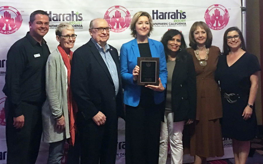 San Diego Oasis representatives celebrate their organization's award June 7 from Harrah's All-In 4 Change at the Harrah's resort on the Rincon Reservation. Left to right: David Beevers, Oasis North County director; Oasis board members Julie Derry and William Wise; San Diego Oasis President Simona Valanciute; organization External Relations Vice President Jolyn Parker; Secretary Judy Lewis (secretary); and Development Associate Sarah Beaupre. (San Diego Oasis photo)