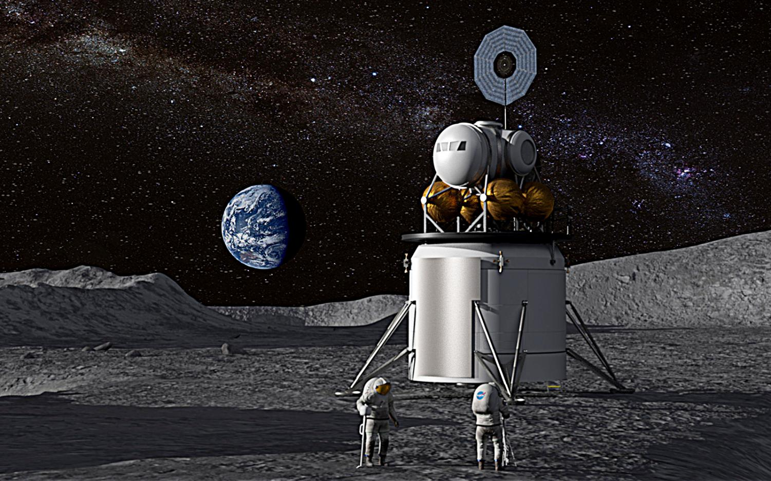 A NASA illustration shows a human landing system and crew on the lunar surface with Earth near the horizon. (NASA photo)