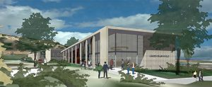 An architect's rendering shows what the new Student Services and Administration building might look like at MiraCosta College's San Elijo campus in Cardiff. (Little Diversified Architectural Consulting)
