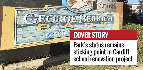 George+Berkich+Park+on+the+campus+of+Cardiff+Elementary+School+is+shown+fenced+off+Sept.+17+as+work+continues+on+school+renovations.+%28North+Coast+Current+photo%29