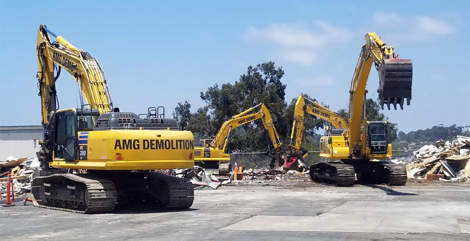 Demolition crews take down buildings in early July at Sunset High School in Encinitas. The campus is being fully rebuilt. (San Dieguito Union High School District project photo)