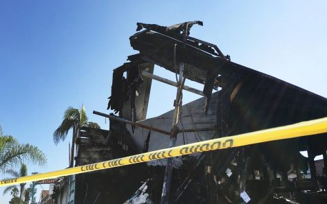 Authorities are still investigating the cause of a fire that destroyed the site of four businesses, pictured Oct. 8, in Leucadia on Sept. 30. (Photo by Roman S. Koenig)