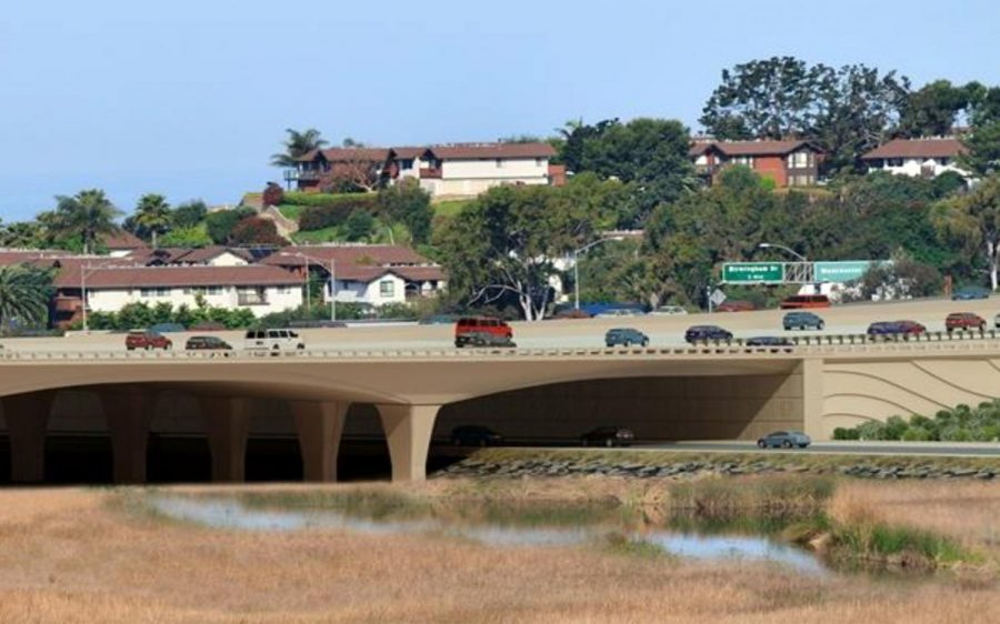 An architect's rendering shows what the completed Interstate 5 bridge should look like, looking northwest toward Manchester Avenue in Encinitas. (SANDAG illustration)